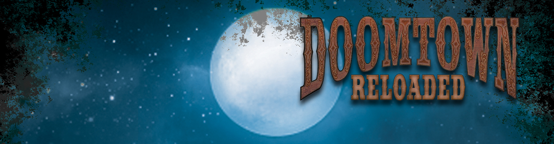 full moon behind doomtown reloaded logo